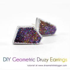 DIY Geometric Druzy Earrings Tutorial.