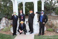 These grooms are just clowning around.