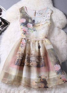 Printed Sleeveless Organza Dress
