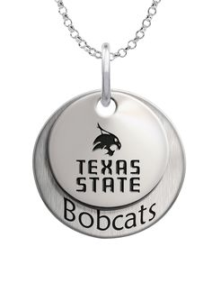 Texas State Bobcats.  We use the finest sterling silver and combine with high tech laser technologies to create this personalized collegiate necklace collection.
