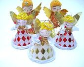 Vintage 1960s Angel Christmas Ornament Lot - Paper and Chenille - Japan