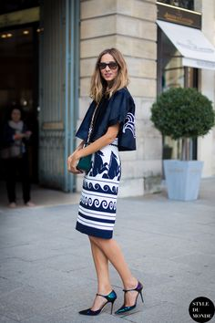 Candela Novembre with graphic print skirt with blazer