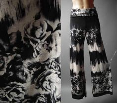 Tie-Dye Rose Floral Tattoo Print Boho Gypsy Goth Wide Leg Palazzo 68 ac Pants M #CasualPants