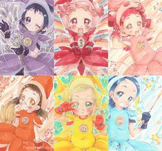 Kakao Card Set - Ojamajo DoReMi Season 1 Witches by Parodygirl-Samy Manga Art, Manga Anime, Ojamajo Doremi, Cute Icons, All Anime, Magical Girl, Aesthetic Anime, Art Projects, Witch