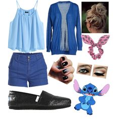 stitch inspired outfit ☆ by mariselaz on Polyvore featuring polyvore fashion style Jacqueline De Yong H&M Pieces TOMS Topshop