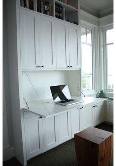 drop down desk built in shelves