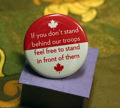 Red & White Canadian Flag Supporting Troops Button via Etsy