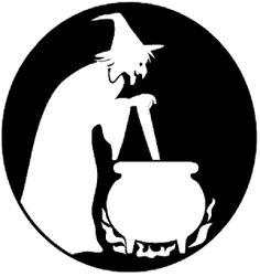 Halloween Witch with Cauldron Stencil – Free Pumpkin Carving Stencil/Pattern