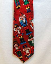 SILK Holiday tie, Christmas red & covered with Nutcrackers - ships free in US $12.50