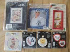 7 Mini Cross Stitch KITS Lot God Bless American Tiger Lilies Stitch N Frame NMI #Assorted #Various