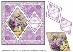 Lilac Flowers Happy Anniversary 7in Double Diamond Topper