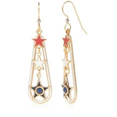 Silver Forest Multi Gold-Tone American Pride Red White And Blue... ($20) ❤ liked on Polyvore featuring jewelry, earrings, multi, red star earrings, star earrings, red earrings, american earrings and gold tone drop earrings