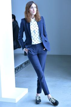 Alexa Chung: suit + sneakers : tomboy style, airport wear, street style