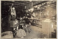 ID#:0067 Date:late 1800s. Interior photo of Miles J. Watson's business, Watson's Hardware. Participant:Barbara Molyneaux. Additional Sources Used For History:O.H.I.O. Resource Center: Fred Maddock files., Historic Preservation Commission, Survey 1998, City Directories;Internet correspondence from Jim Molyneaux, 01/16/01. Interview with Jim and Barbara Molyneaux, 6/00. Interview with Glenn Molyneaux, 6/00; Interview with Pat Stetson, 01/01 Interior Photo, Ohio, The Past, Interview, Hardware, Community, History, City, Business