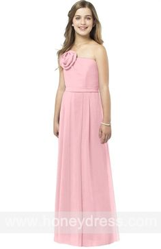 A-line #Strapless #Chiffon Floor-length #Junior #Bridesmaid #Dresses 06461  $72.90      Find it here.... http://honeydress.com/b/a-line-strapless-chiffon-floor-length-junior-bridesmaid-dresses-06461.html?utm_source=SNS%5FSource_medium=SNS%5FPinterest_term=Pinterest_campaign=Pinterest%5FPost_nooverride=1...