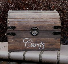 Medium Size Wooden Wedding Card Box Rustic Treasure Chest Holds 100 Cards