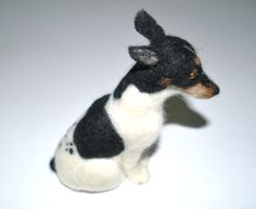 Hand Felted Miniature Rat Terrier Dog. $75.00, via Etsy.