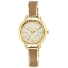 Anne Klein Brown Womens Gold-Tone Tan Leather Bangle Watch - Women's ($65) ❤ liked on Polyvore featuring jewelry, watches, brown, hinged bracelet, sparkly watches, leather jewelry, leather wrist watch and anne klein jewelry