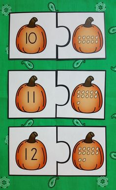 Pumpkin Number Puzzles Numerals to 20 Numbers Kindergarten, Kindergarten Readiness, Fast Finishers, Early Finishers, Farm Fun, Number Puzzles, Teaching Resources, Teaching Ideas, Common Core Math