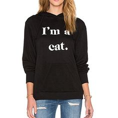 Archie Vince Casual Womens Pocket Pullover Hoodie Sweatshirt Black Cat Hoodie Coat with Ears  One Note: This is a Asian adult women sizes.Please read the descr...