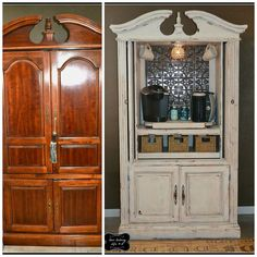 repurposing an old t v armoire, painted furniture, repurposing upcycling, Armoire Turned Coffee Bar