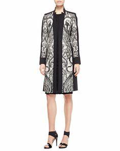 Etro Scroll Paisley-Panel Coat & Lace-Applique Cap-Sleeve Dress - Neiman Marcus