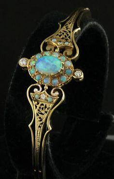 1950's 14K Gold Opal & Diamond Bracelet