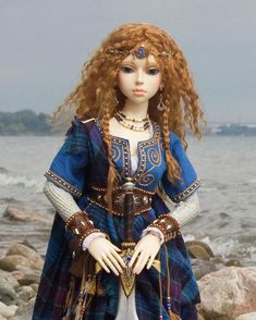 """Arwyn"", a Celtic Maiden  Ball-jointed doll by ~Elfdoll.~  Clothing, jewelry and wig by ~Martha Boers.~"