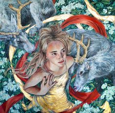 SALE 30% OFF The Awakening: Original Pop Surrealism, Magical Realism, Portrait of Girl with Deer, Oil Painting by Brianna Angelakis