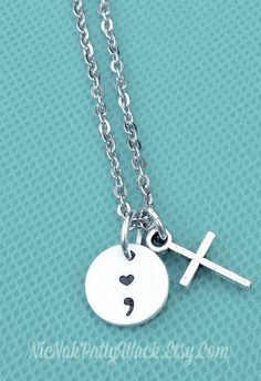 Hand Stamped Semicolon Necklace - Silver Semicolon Jewelry - My Story Isn't Over Yet ; - Suicide Prevention - Minimalist Necklace