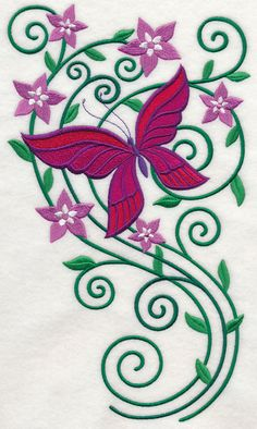 Burst of Spring Butterfly 1. One of 4 large butterfly and floral designs available in 4 sizes and a smaller coordinating design in one size. ALL FREE until midnight 4-20-14 from Embroidery Library.