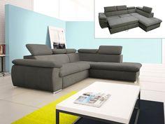 Canapé d'angle convertible en tissu avec coffre de rangement FABIEN - Taupe ou Noir