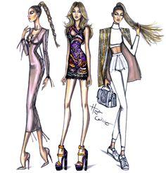 Hayden Williams Fashion Illustrations | Gigi Hadid PFW looks by Hayden Williams
