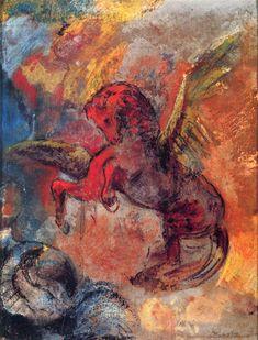 Odilon Redon ~ Pegasus and the Hydra