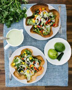 Tortilla Bowl Salad with Green Goddess Dressing