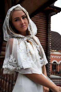 """Купить """"Дарья"""" - белый, однотонный, платок на венчания, свадьба, ручная работа, платок в церковь"""