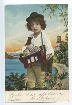 Postcard of boy with pet guinea pig, circa 1900