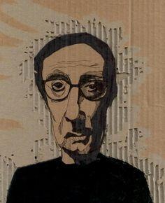 jeanlucgodard Discard(board) Portraits in cardboard art  with wall art Upcycled Reused Portrait Cardboard