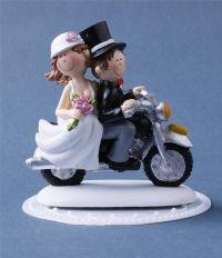 Hochzeitstorte Tortendekoration Hochzeit Brautpaar auf Motorrad