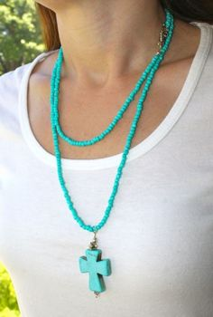 Long Turquoise Seed Beads, Turquoise Magnesite Cross and Silver Accents Necklace | AyaDesigns - Jewelry on ArtFire