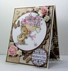 Good Morning, today I am sharing a simple card and gift that I made. I have used my all time favourite stamp Teddy Bouquet , I have colo. Penny Black Cards, Penny Black Stamps, Candy Cards, Embossed Cards, Flower Stamp, 3d Cards, Animal Cards, Card Maker, Scrapbook Cards