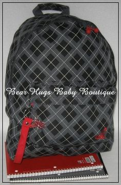 Roxy Argyle Plaid Black, Gray, and Red Backpack. #twilight #roxy #plaid