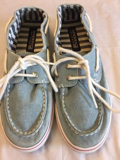 b9a98b2b5d3 Girls Sperry Top-Sider Size 3.5 Bahama Denim Lace Up Boat Shoe Blue Jean
