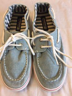 9e9776ac3ba6f6 Girls Sperry Top-Sider Size 3.5 Bahama Denim Lace Up Boat Shoe Blue Jean