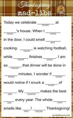 Keep the kids and even the adults happy while they wait for the Thanksgiving feast! There will be even more laughs this Thanksgiving with this fun activity! Thanksgiving Mad Lib, Thanksgiving Traditions, Thanksgiving Parties, Thanksgiving Games For Adults, Thanksgiving Decorations, Holiday Games, Holiday Activities, Holiday Fun, Holiday Parties