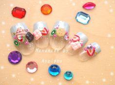 3D nails kawaii harajuku fashion pastel blue tips with by Aya1gou, $19.50