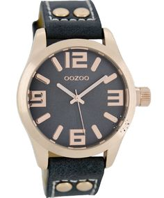 OROLOI.gr - Ρολόγια OOZOO TIMEPIECES - OOZOO Τimepieces Black Leather Strap