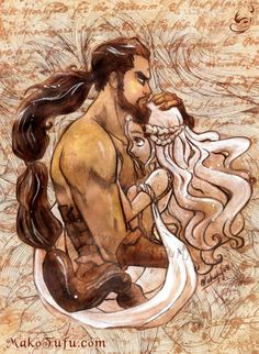 Daenerys Targaryen, Khal Drogo. Moon of my life. My sun and stars. They were adorable... in a rugged way :)