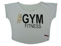 Blusas Femininas   Blusa Cropped # Gym Fitness Branca  Acesse: http://www.spbolsas.com.br/atacado/ #Regatas #Femininas #Atacado