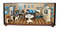 """Grand-Sized Early German Wooden Kitchen with Abundant Blue Enamelware 41"""" (104 cm.) l. x 17""""h. x 21""""d."""